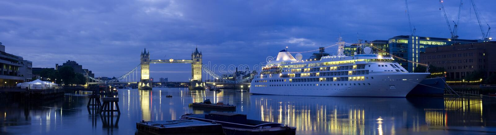Tower Bridge and Cruise Liner stock photography