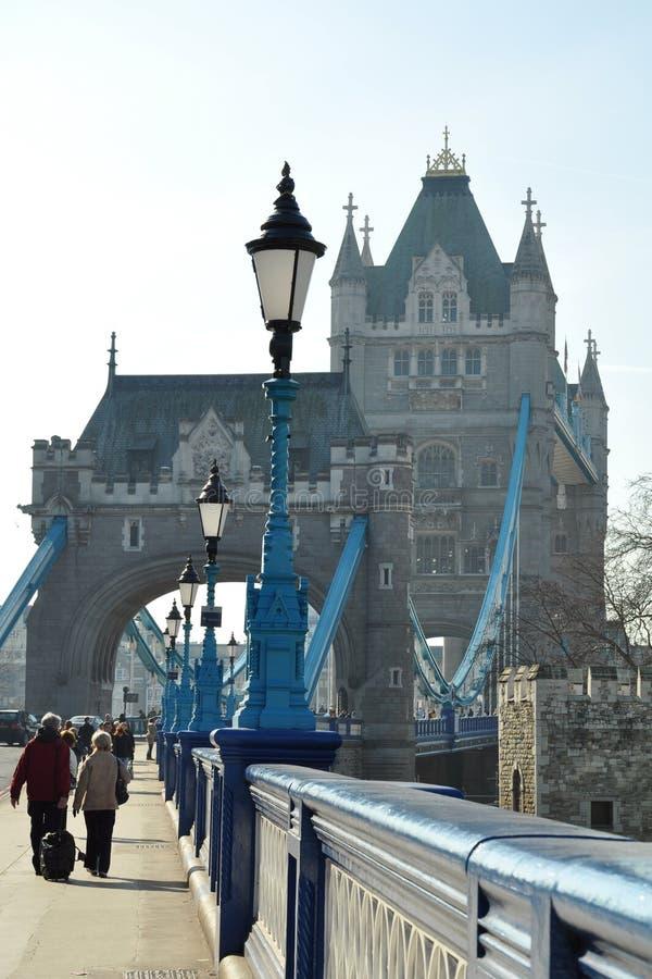 Tower Bridge entrance: lantern perspective stock image