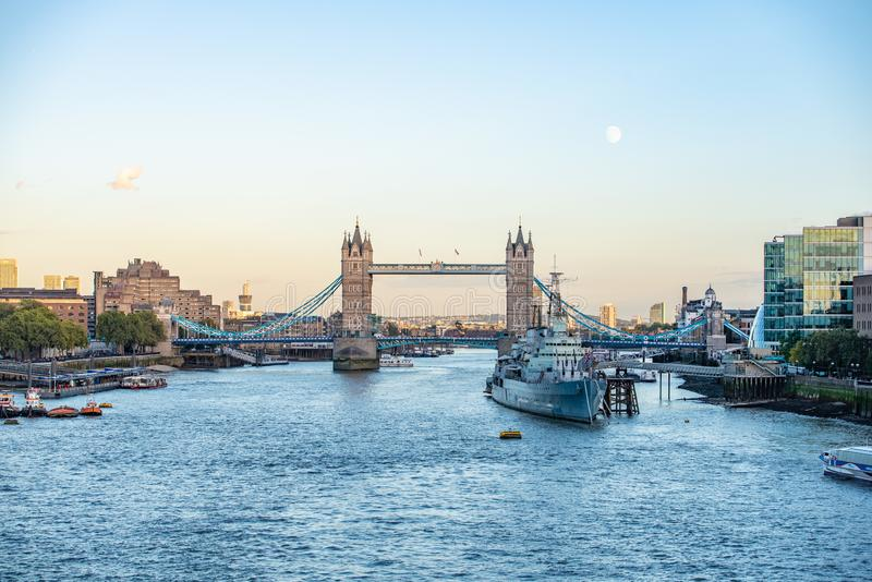 Tower bridge in the evening. This is Tower Bridge over the River Thames in London stock photography