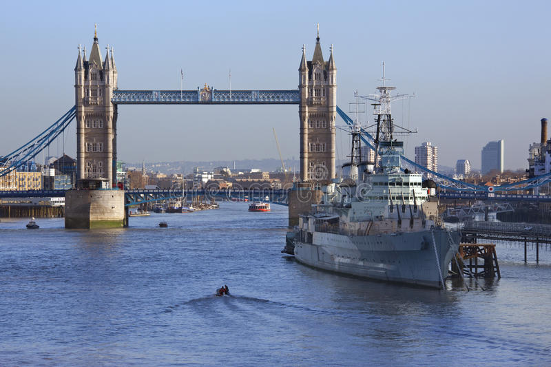 Tower Bridge - HMS Belfast - London - England royalty free stock photo