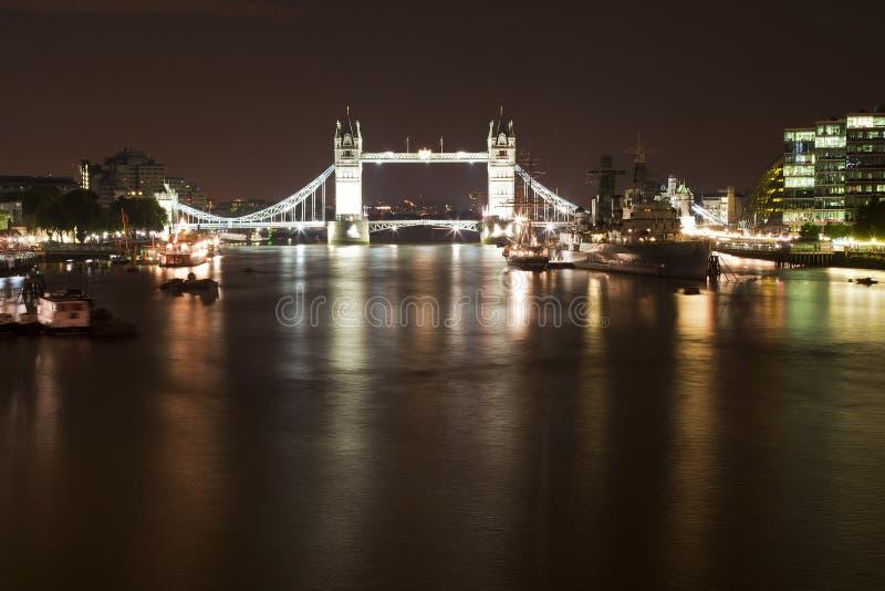 Tower Bridge And HMS Belfast Ship Stock Image