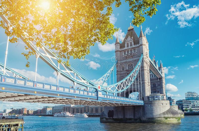 Tower Bridge in London in a beautiful summer day, England, Unite. View to the tower bridge and the thames river at a summer in london. ideal for websites and royalty free stock photo