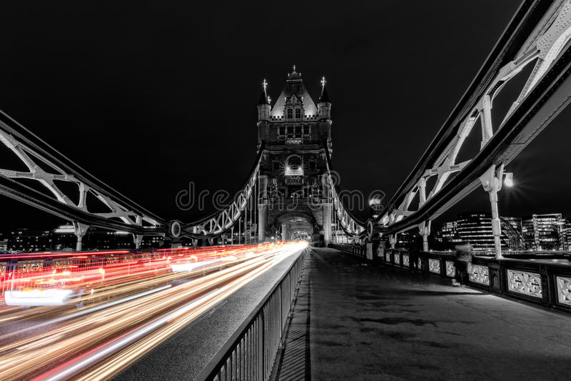 Download Tower Bridge In London Black And White UK At Night With Blur Colored