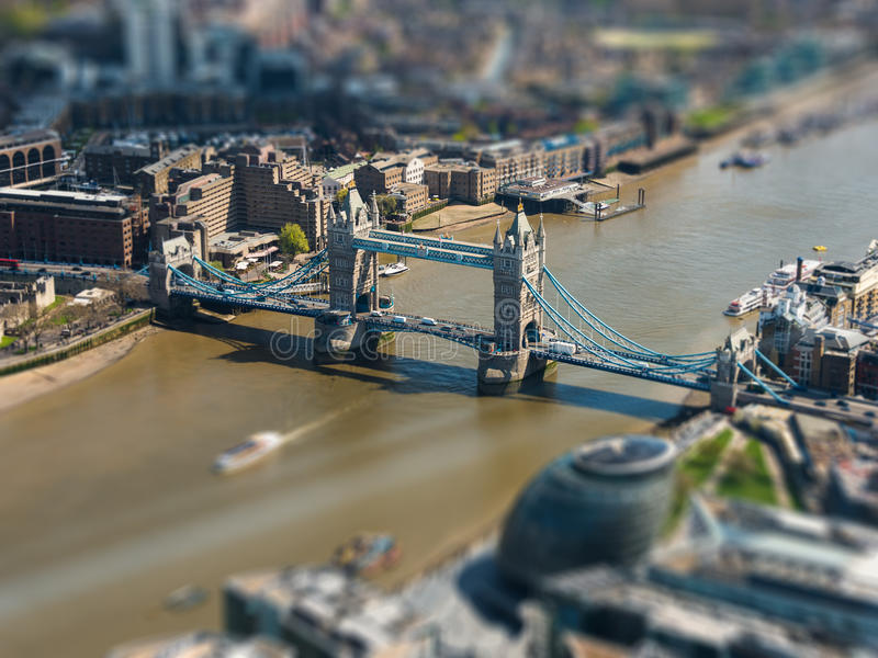 Tower Bridge and London City Hall aerial view. Tilt-shift effect, England, UK royalty free stock images