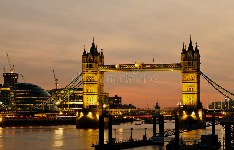 Download The Tower Bridge In London At Dusk Stock Photo - Image: 16373624