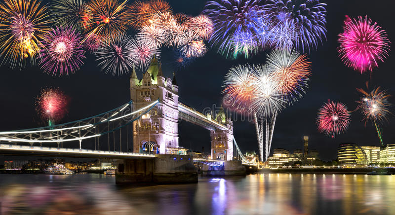 Tower Bridge in London with fireworks stock photography