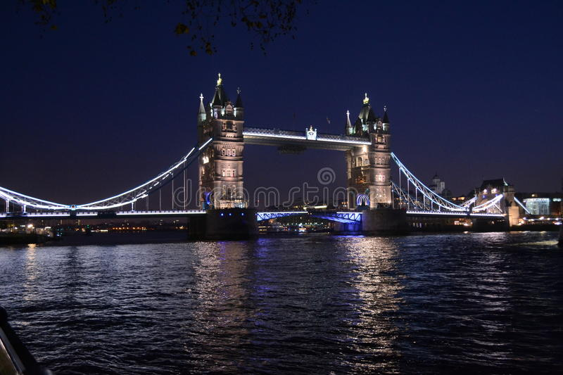 Tower Bridge - London at night. Great view of the Tower Bridge at night stock image