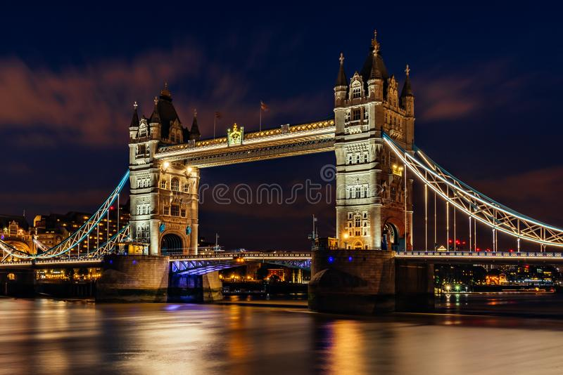 Tower Bridge in London at night stock image