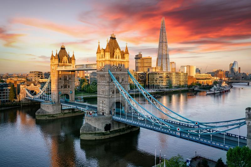 The Tower Bridge of London and the skyline along the Thames river, United Kingdom royalty free stock images
