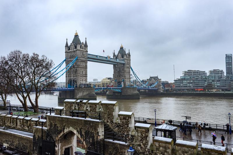 Tower Bridge of London snowing winter day. royalty free stock image