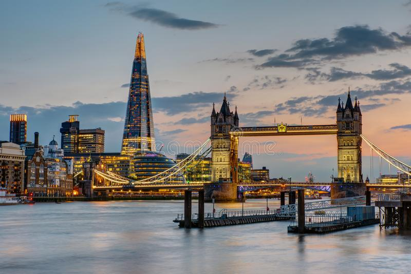 The Tower Bridge in London after sunset royalty free stock photo
