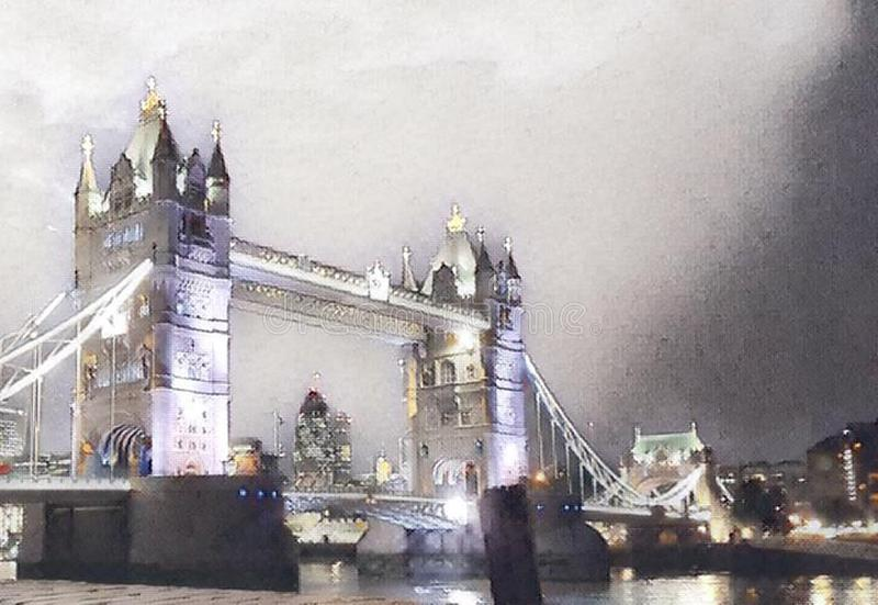 Tower bridge in london. By night with lights royalty free illustration
