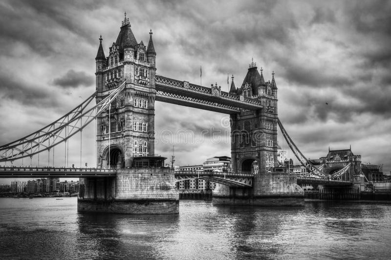 Tower Bridge in London, the UK. Black and white royalty free stock photo