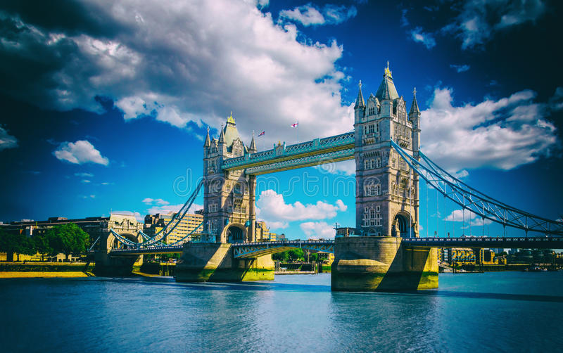 Tower Bridge in London, UK. The bridge is one of the most famous landmarks in Great Britain, England royalty free stock photos