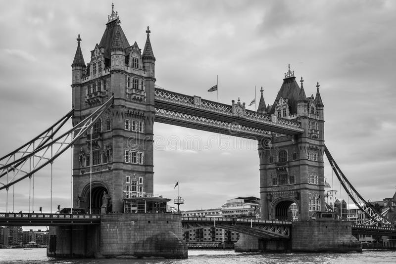 Tower Bridge in London, UK. In monochrome. Black and white photography royalty free stock image
