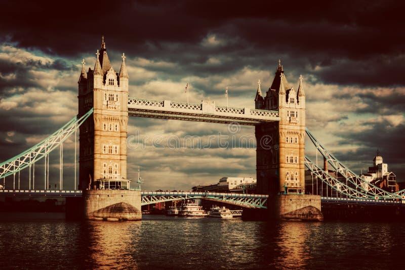 Tower Bridge in London, UK. Vintage royalty free stock photo