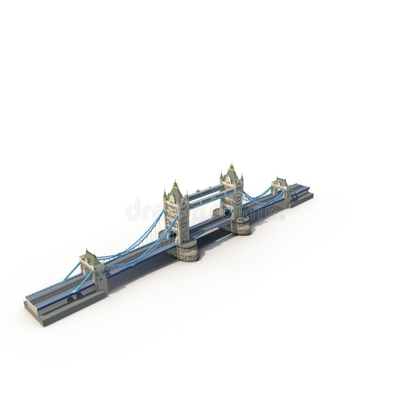 The Tower Bridge, London, UK on white. 3D illustration stock illustration