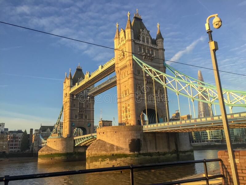 The Tower Bridge in London. View of the Tower Bridge from the promenade in the London Borough of Tower Hamlets royalty free stock photo