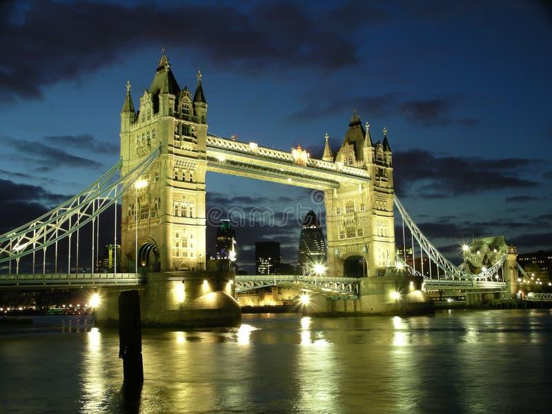 Tower Bridge at night stock image