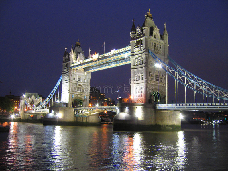 Tower Bridge at night. The famous Tower Bridge in London, England