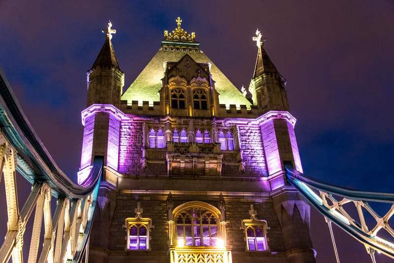 Download Tower Bridge at night stock image. Image of tower, clouds - 83714241