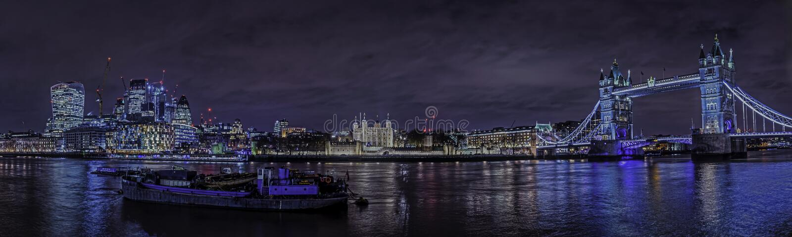 Tower bridge night time blues panorama royalty free stock images