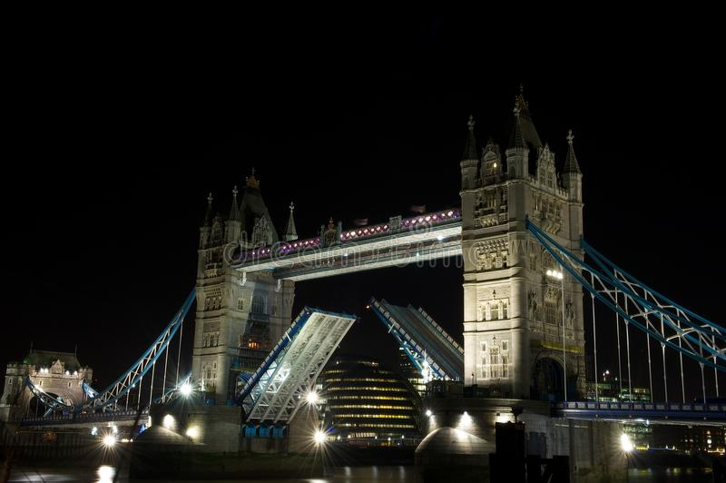 Tower Bridge open, London, UK royalty free stock photo