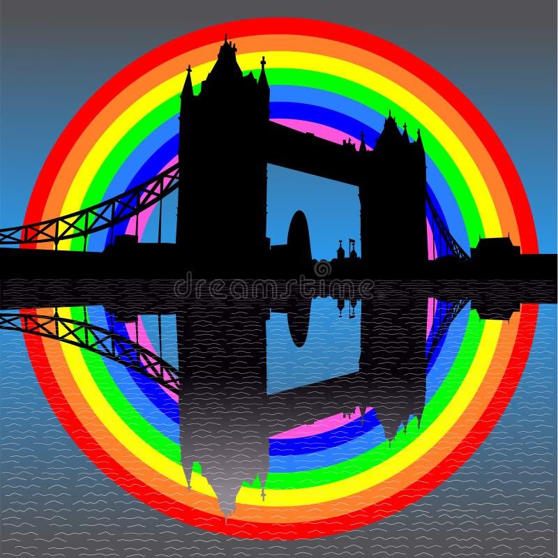 Tower bridge with rainbow vector illustration