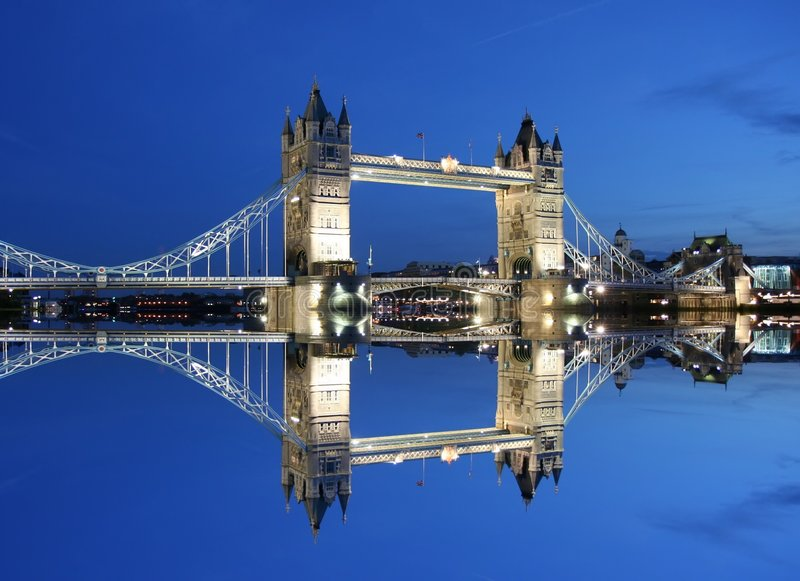 Tower Bridge and reflection at twilight-London stock photo