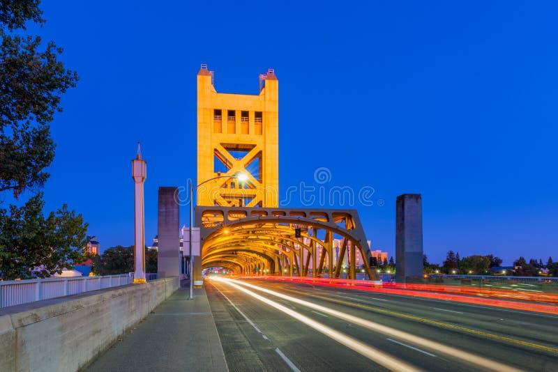 Tower Bridge in Sacramento California at Dusk royalty free stock photography