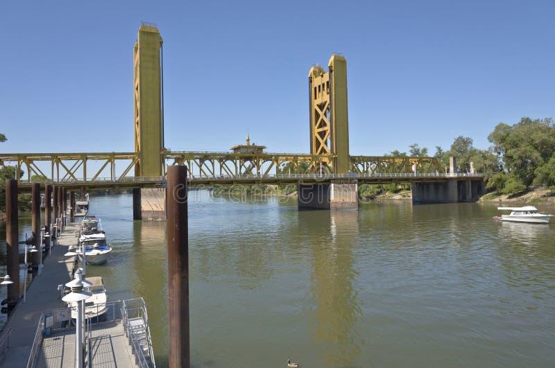 Tower bridge and the Sacramento river California. stock photo