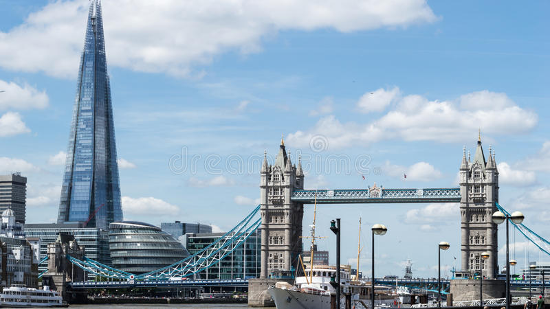 Tower Bridge with Shard building, London. LONDON - 15 JUNE 2015: Tower Bridge with Shard building, London royalty free stock images