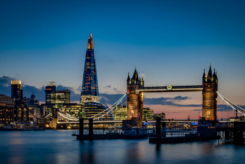 Tower bridge and the sky London skyline at sunset royalty free stock photo