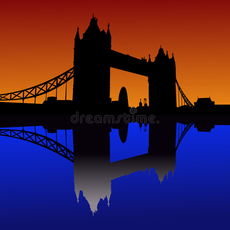 Tower Bridge at sunset royalty free illustration