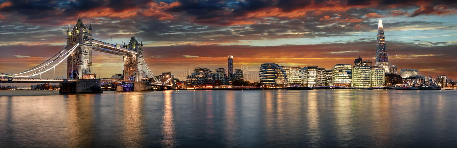 From the Tower Bridge to London Bridge during sunset stock photos