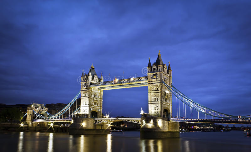 Tower Bridge at twilight. London's Tower Bridge at twilight royalty free stock photography
