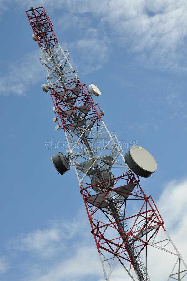 Tower With Broadcast Antenna System Stock Photo