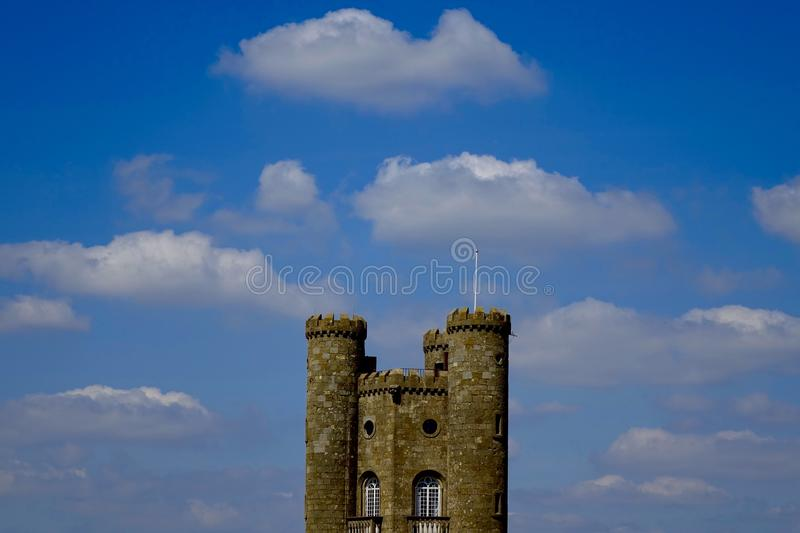 Tower. Broadway tower Cotswolds summer, tower, traditional, travel, vertical, Broadway, folly, follies, country, park, Worcestershire, Cotswold, Cotswolds stock photography