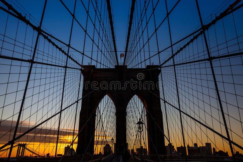 Tower of Brooklyn bridge New York city stock photo
