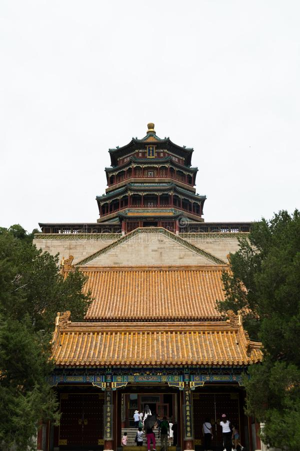 Tower of Buddhist Incense on Longevity Hill in The Summer Palace - Beijing, China royalty free stock images