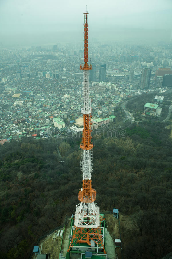 Tower build on mountain in Seoul. stock photos