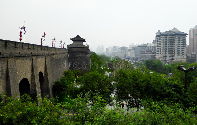 Tower and buildings in Xi'an stock photos