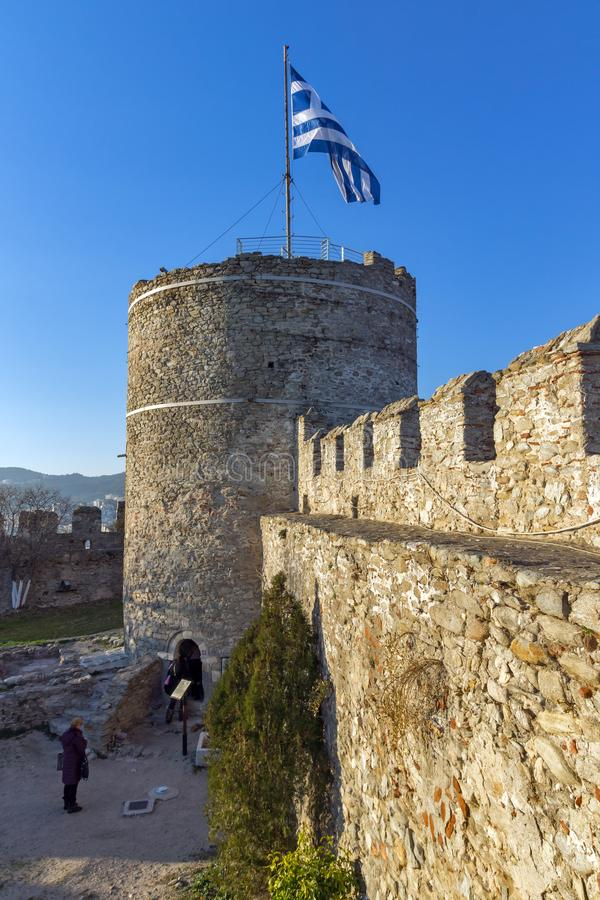 Tower of the Byzantine fortress in Kavala, East Macedonia and Thrace, Greece. KAVALA, GREECE - DECEMBER 27, 2015: Tower of the Byzantine fortress in Kavala, East stock photography