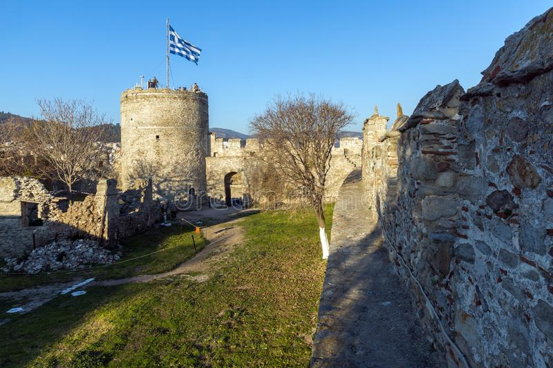 Tower of the Byzantine fortress in Kavala, East Macedonia and Thrace, Greece. KAVALA, GREECE - DECEMBER 27, 2015: Tower of the Byzantine fortress in Kavala, East royalty free stock photo