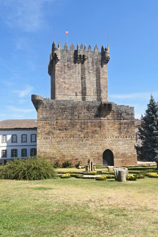 Tower of the castle in Chaves, Vila Real. North of Portugal royalty free stock photo