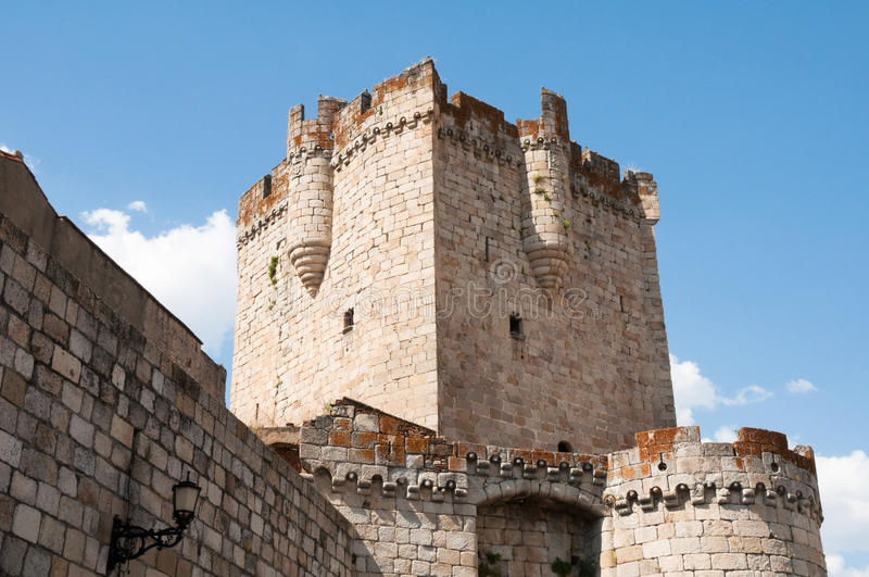 Tower of the castle of the Dukes of Alba, Coria. (Spain stock photography