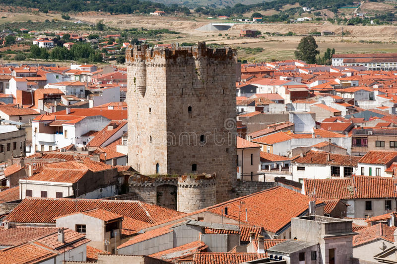 Tower of the castle of the Dukes of Alba, Coria, Spain. Tower of the castle of the Dukes of Alba, Coria (Spain royalty free stock photo