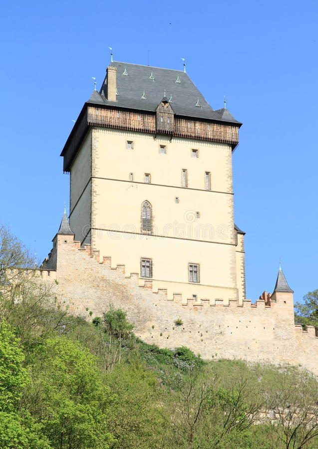 Tower on Castle Karlstejn. Tower and fortification on castle Karlstejn in Czech Republic royalty free stock photography