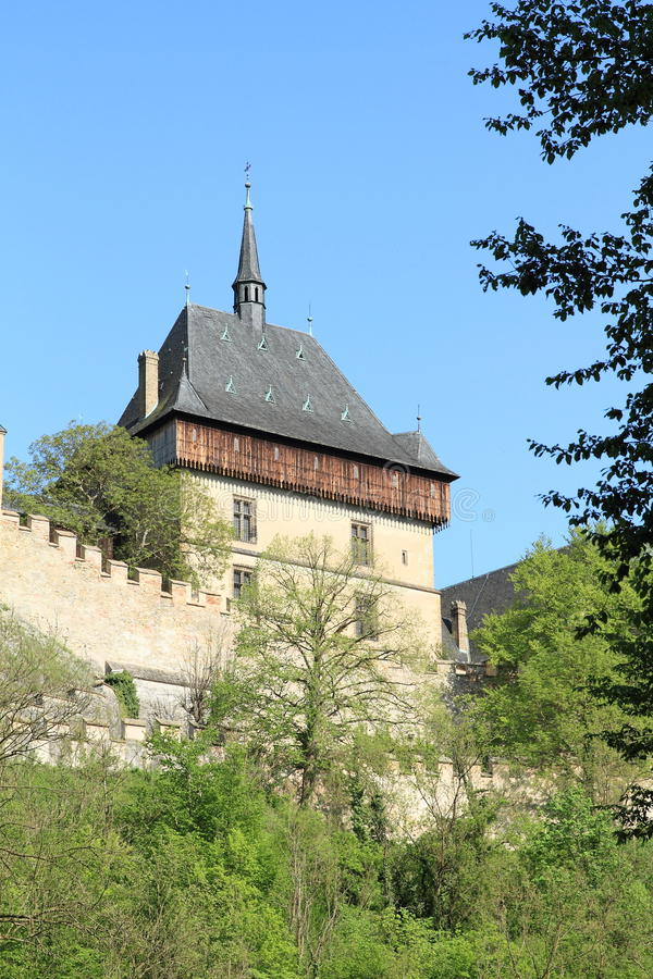 Tower on Castle Karlstejn. Tower and fortification on castle Karlstejn in Czech Republic royalty free stock images