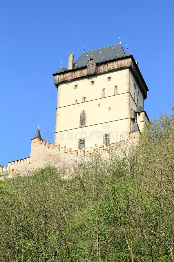 Tower on Castle Karlstejn. Tower and fortification on castle Karlstejn in Czech Republic stock photo